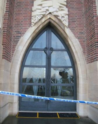 The famous Angel Doors at the West Front of Guildford Cathedral were subject to a mindless attack of vandalism last night (Tuesday evening). & Guildford Cathedral - Angel Doors a target of mindless vandalism